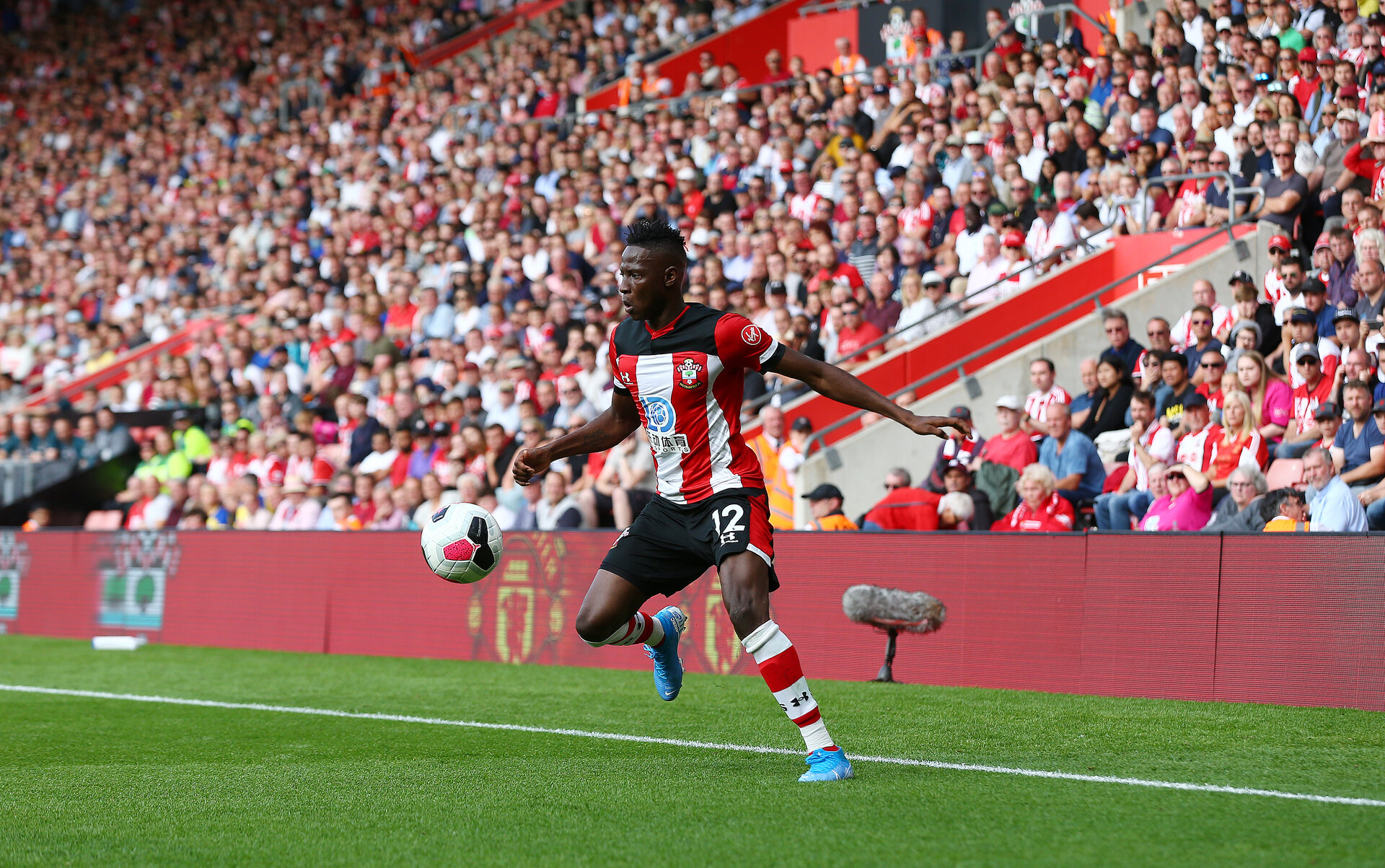 SOUTHAMPTON, ENGLAND - AUGUST 17: Moussa Djenepo of Southampton during the Premier League match between Southampton FC and Liverpool FC at St Mary's Stadium on August 17, 2019 in Southampton, United Kingdom. (Photo by Matt Watson/Southampton FC via Getty Images)