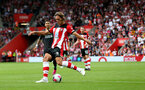SOUTHAMPTON, ENGLAND - AUGUST 17: Jannik Vestergaard of Southampton during the Premier League match between Southampton FC and Liverpool FC at St Mary's Stadium on August 17, 2019 in Southampton, United Kingdom. (Photo by Matt Watson/Southampton FC via Getty Images)