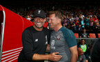 SOUTHAMPTON, ENGLAND - AUGUST 17: Jurgan Klopp(L) of Liverpool and Ralph Hasenhuttl of Southampton during the Premier League match between Southampton FC and Liverpool FC at St Mary's Stadium on August 17, 2019 in Southampton, United Kingdom. (Photo by Matt Watson/Southampton FC via Getty Images)