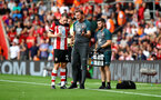 SOUTHAMPTON, ENGLAND - AUGUST 17: L to R Pierre-Emile Hojbjerg, Ralph Hasenhuttl and Kevin Mulholland during the Premier League match between Southampton FC and Liverpool FC at St Mary's Stadium on August 17, 2019 in Southampton, United Kingdom. (Photo by Matt Watson/Southampton FC via Getty Images)
