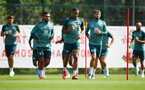 SOUTHAMPTON, ENGLAND - AUGUST 20: L to R Sofiane Boufal, Yan Valery and Jack Stephens during a Southampton FC training session at the Staplewood Campus on August 20, 2019 in Southampton, England. (Photo by Matt Watson/Southampton FC via Getty Images)