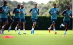 SOUTHAMPTON, ENGLAND - AUGUST 20: Players warm up during a Southampton FC training session at the Staplewood Campus on August 20, 2019 in Southampton, England. (Photo by Matt Watson/Southampton FC via Getty Images)