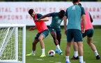 SOUTHAMPTON, ENGLAND - AUGUST 20: Wesley Hoedt(L) and Michael Obafemi during a Southampton FC training session at the Staplewood Campus on August 20, 2019 in Southampton, England. (Photo by Matt Watson/Southampton FC via Getty Images)