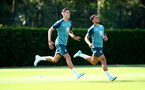 SOUTHAMPTON, ENGLAND - AUGUST 22: Jan Bednarek(L) and Ché Adams during a Southampton FC training session at the Staplewood Campus on August 22, 2019 in Southampton, England. (Photo by Matt Watson/Southampton FC via Getty Images)