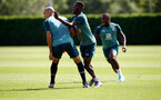 SOUTHAMPTON, ENGLAND - AUGUST 22: Oriol Romeu(L) and Moussa Djenepo  during a Southampton FC training session at the Staplewood Campus on August 22, 2019 in Southampton, England. (Photo by Matt Watson/Southampton FC via Getty Images)