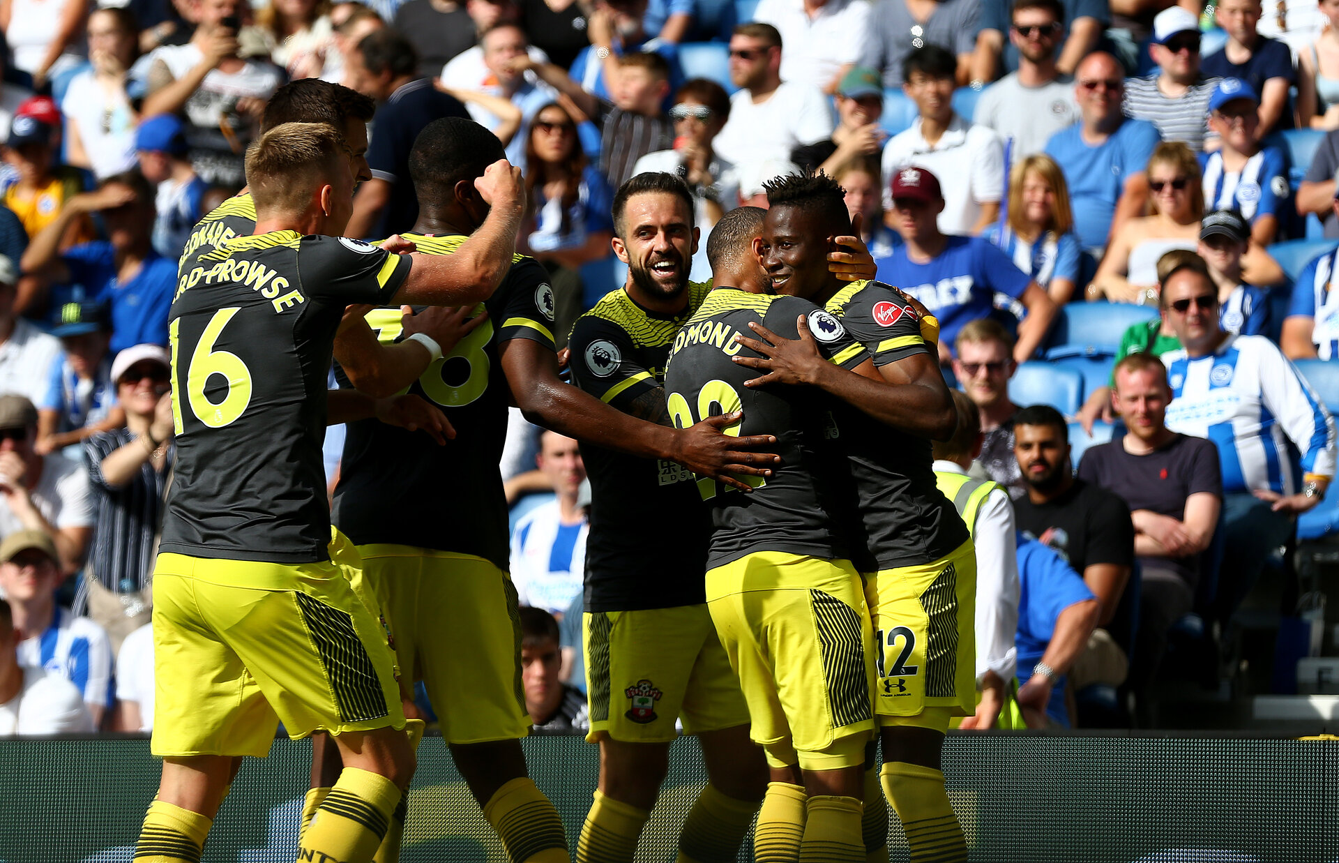BRIGHTON, ENGLAND - AUGUST 24: Moussa Djenepo(12) of Southampton celebrates his goal during the Premier League match between Brighton & Hove Albion and Southampton FC at American Express Community Stadium on August 24, 2019 in Brighton, United Kingdom. (Photo by Matt Watson/Southampton FC via Getty Images)