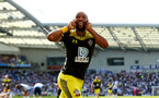 BRIGHTON, ENGLAND - AUGUST 24: Nathan Redmond of Southampton celebrates his goal during the Premier League match between Brighton & Hove Albion and Southampton FC at American Express Community Stadium on August 24, 2019 in Brighton, United Kingdom. (Photo by Matt Watson/Southampton FC via Getty Images)