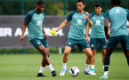 SOUTHAMPTON, ENGLAND - AUGUST 29: Kevin Danso(L) and Maya Yoshida during a Southampton FC training session at the Staplewood Campus on August 29, 2019 in Southampton, England. (Photo by Matt Watson/Southampton FC via Getty Images)