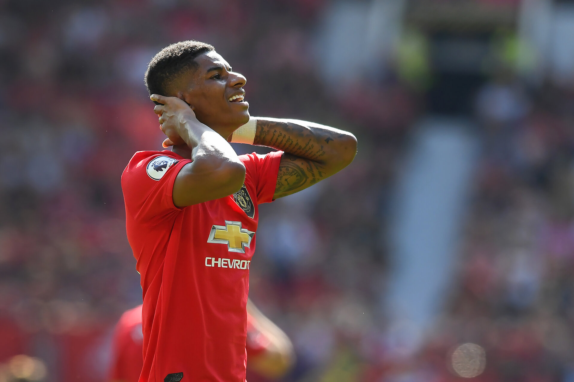 MANCHESTER, ENGLAND - AUGUST 24: Marcus Rashford looks dejected during the Premier League match between Manchester United and Crystal Palace at Old Trafford on August 24, 2019 in Manchester, United Kingdom. (Photo by Michael Regan/Getty Images)