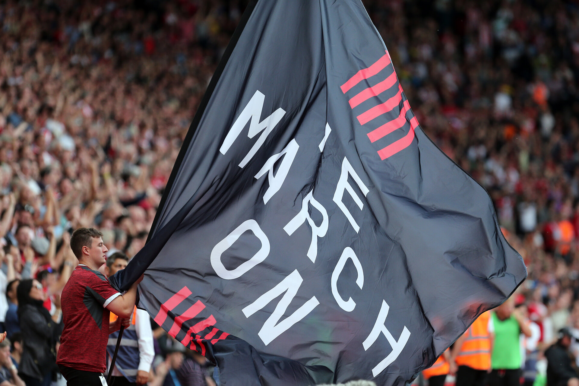SOUTHAMPTON, ENGLAND - AUGUST 31: We March On during the Premier League match between Southampton FC and Manchester United at St Mary's Stadium on August 31, 2019 in Southampton, United Kingdom. (Photo by Chris Moorhouse/Southampton FC via Getty Images)
