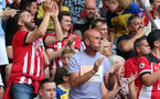 SOUTHAMPTON, ENGLAND - AUGUST 31: Saints fans during the Premier League match between Southampton FC and Manchester United at St Mary's Stadium on August 31, 2019 in Southampton, United Kingdom. (Photo by Chris Moorhouse/Southampton FC via Getty Images)