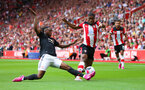 31st August 2019, St Marys Stadium, Saints against Manchester United, Kevin Danso run up the line