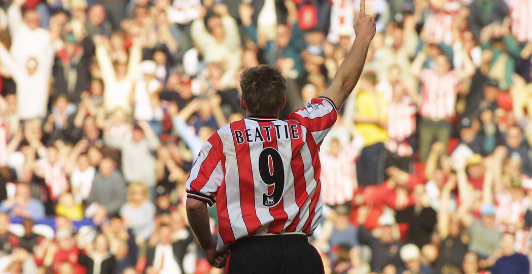 SOUTHAMPTON - MARCH 22:  James Beattie of Southampton celebrates his goal during the FA Barclaycard Premiership match between Southampton and Aston Villa at St Mary's Stadium, Southampton, England on March 22, 2003.  (Photo by Craig Prentis/Getty Images)