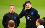 SOUTHAMPTON, ENGLAND - SEPTEMBER 09: Ross Barkley (L) and Harry Maguire of England look on during an England training session at St. Mary's Stadium on September 09, 2019 in Southampton, England. (Photo by Julian Finney/Getty Images)