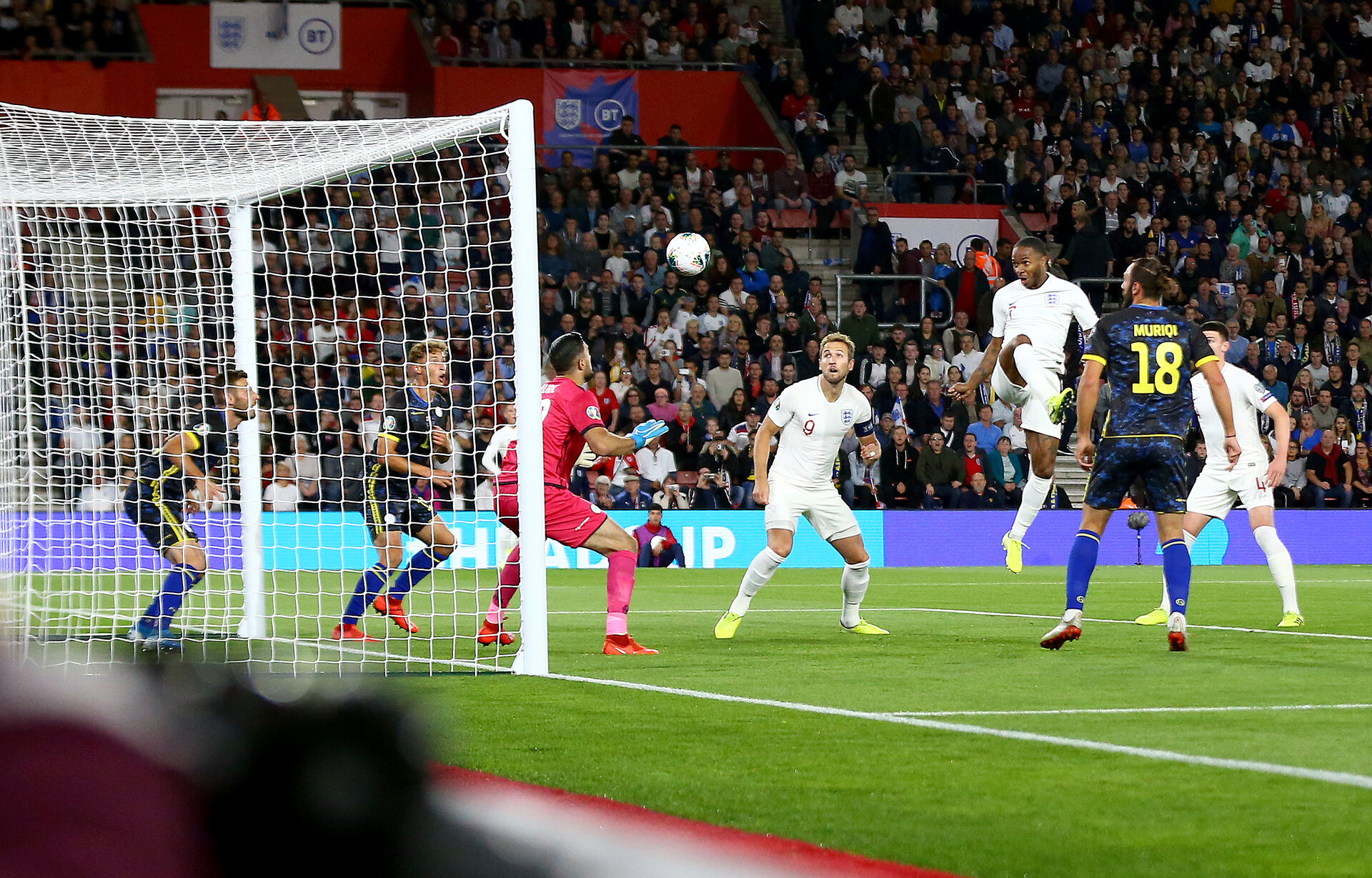 SOUTHAMPTON, ENGLAND - SEPTEMBER 10: Raheem Sterling(7) of England scores with his head to make it 1-1 during the UEFA Euro 2020 qualifier match between England and Kosovo at St. Mary's Stadium on September 10, 2019 in Southampton, England. (Photo by Matt Watson/Southampton FC via Getty Images)