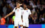 SOUTHAMPTON, ENGLAND - SEPTEMBER 10: Jadon Sancho(L) and Raheem Sterling of England during the UEFA Euro 2020 qualifier match between England and Kosovo at St. Mary's Stadium on September 10, 2019 in Southampton, England. (Photo by Matt Watson/Southampton FC via Getty Images)
