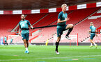 SOUTHAMPTON, ENGLAND - SEPTEMBER 12: Danny Ings(L) and Christoph Klarer during a Southampton FC training session at St Mary's stadium on September 12, 2019 in Southampton, England. (Photo by Matt Watson/Southampton FC via Getty Images)