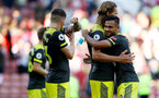 SHEFFIELD, ENGLAND - SEPTEMBER 14: Sofiane Boufal(R) of Southampton celebrates with his team mates during the Premier League match between Sheffield United and Southampton FC at Bramall Lane on September 14, 2019 in Sheffield, United Kingdom. (Photo by Matt Watson/Southampton FC via Getty Images)
