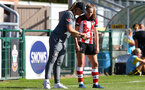 Marieanne Spacey-Cale and Ella Morris during the FA Women's National League, Div One South West match between Southampton FC Women and Buckland, at the Testwood Community Stadium, AFC Totton, Southampton, 15th September 2019(pic by Isabelle Field)