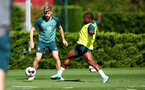 SOUTHAMPTON, ENGLAND - SEPTEMBER 17: Stuart Armstrong(L) and Michael Obafemi during a Southampton FC training session at the Staplewood Campus on September 17, 2019 in Southampton, England. (Photo by Matt Watson/Southampton FC via Getty Images)