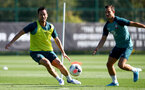 SOUTHAMPTON, ENGLAND - SEPTEMBER 17: Maya Yoshida(L) and Cedric Soares during a Southampton FC training session at the Staplewood Campus on September 17, 2019 in Southampton, England. (Photo by Matt Watson/Southampton FC via Getty Images)