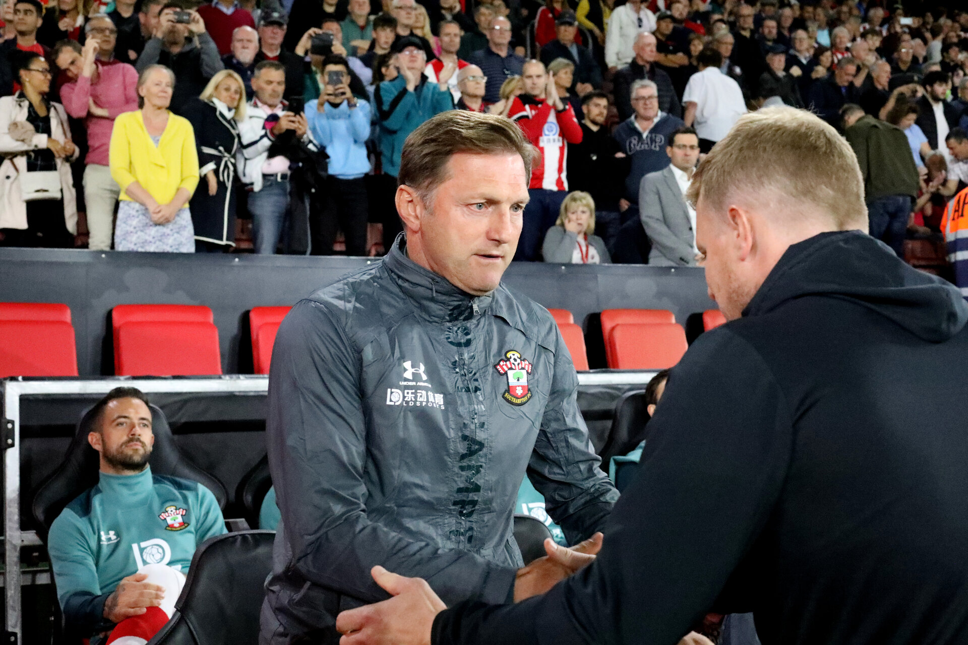 SOUTHAMPTON, ENGLAND - SEPTEMBER 20: Ralph Hasenhüttl and Eddie Howe during the Premier League match between Southampton FC and AFC Bournemouth at St Mary's Stadium on September 21, 2019 in Southampton, United Kingdom. (Photo by Chris Moorhouse/Southampton FC via Getty Images)
