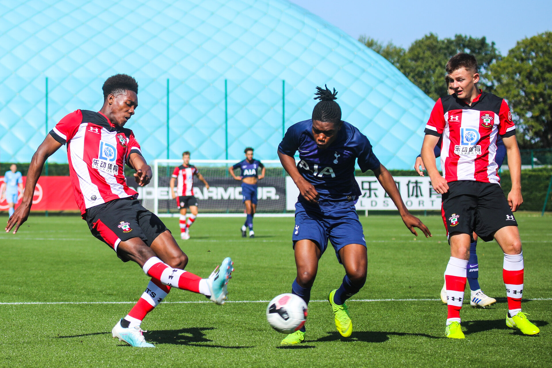 SOUTHAMPTON, ENGLAND - SEPTEMBER 21: Southampton FC number 11 has a shot during the Under 18s match between Southampton FC and Tottenham Hotspur at the Staplewood Campus on September 21, 2019 in Southampton, England
