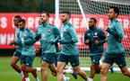 SOUTHAMPTON, ENGLAND - SEPTEMBER 22: Players warm up during a training session at the Staplewood Campus on September 22, 2019 in Southampton, England. (Photo by Matt Watson/Southampton FC via Getty Images)