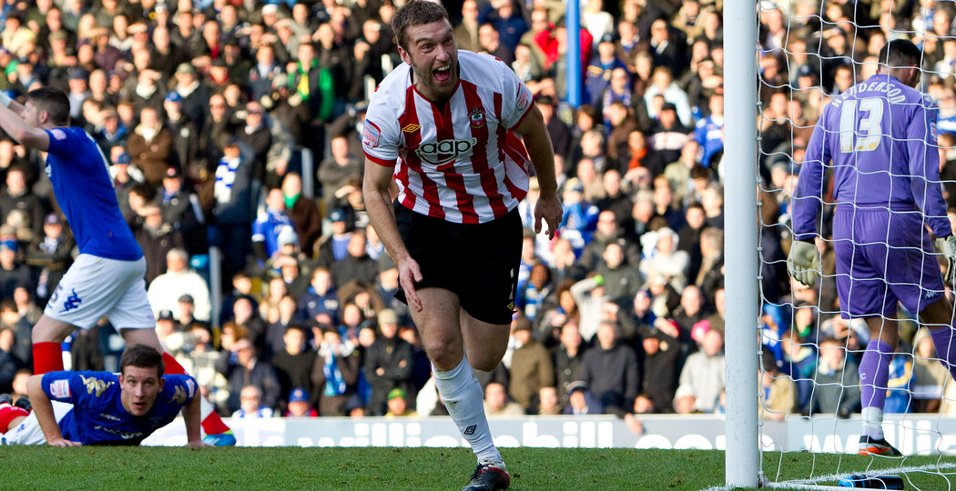 PORTSMOUTH, ENGLAND - DECEMBER 18: Ricky Lambert of Southampton celebrates scoring the opening goal of the npower Championship match between Portsmouth and Southampton at Fratton Park on December 18, 2011 in Portsmouth, England.  (Photo by Ben Hoskins/Getty Images)
