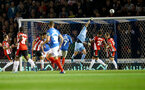 PORTSMOUTH, ENGLAND - SEPTEMBER 24: Alex McCarthy of Southampton saves during the Carabao Cup Third Round match between Portsmouth and Southampton at Fratton Park on September 24, 2019 in Portsmouth, England. (Photo by Matt Watson/Southampton FC via Getty Images)