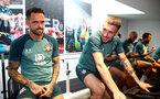 SOUTHAMPTON, ENGLAND - SEPTEMBER 25: Danny Ings(L) and Pierre-Emile Hojbjerg during a Southampton FC training/recovery session at Staplewood Complex on September 25, 2019 in Southampton, England. (Photo by Matt Watson/Southampton FC via Getty Images)