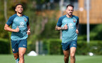 SOUTHAMPTON, ENGLAND - SEPTEMBER 26: Ché Adams(L) and Danny Ings during a Southampton FC training session at the Staplewood Campus on September 26, 2019 in Southampton, England. (Photo by Matt Watson/Southampton FC via Getty Images)