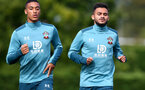 SOUTHAMPTON, ENGLAND - SEPTEMBER 26: Yan Valery(L) and Sofiane Boufal during a Southampton FC training session at the Staplewood Campus on September 26, 2019 in Southampton, England. (Photo by Matt Watson/Southampton FC via Getty Images)