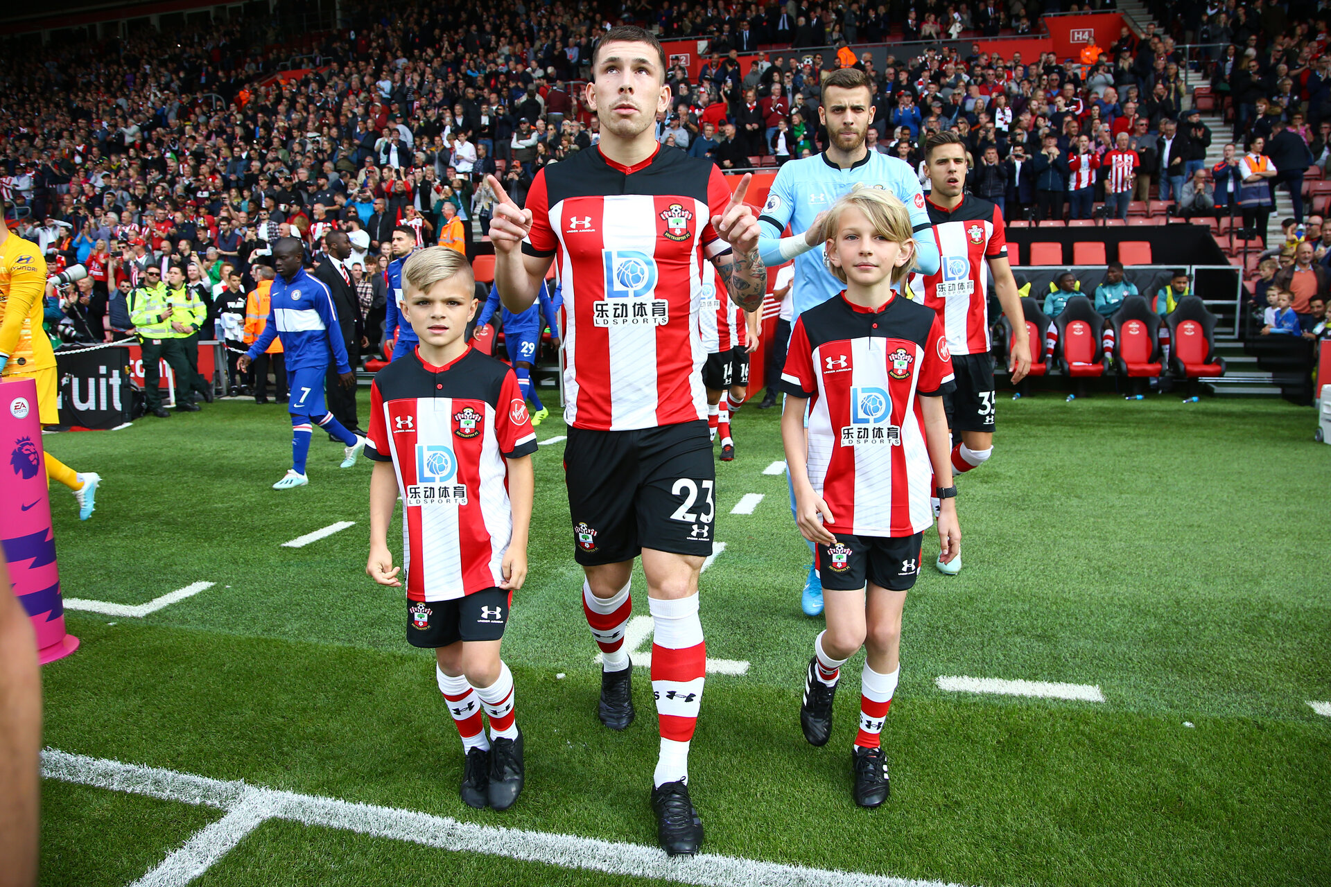 Pierre-Emile Hojberg during Premier League between Southampton FC and Chelsea at St Mary's Stadium, Southampton 6th October 2019 (pic by Isabelle Field)