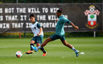 SOUTHAMPTON, ENGLAND - OCTOBER 09: Sean Brennan(L) and Ryan Bertrand during a Southampton FC training session at the Staplewood Campus on October 09, 2019 in Southampton, England. (Photo by Matt Watson/Southampton FC via Getty Images)