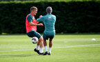 SOUTHAMPTON, ENGLAND - OCTOBER 09: James Ward-Prowse(L) and Nathan Redmond during a Southampton FC training session at the Staplewood Campus on October 09, 2019 in Southampton, England. (Photo by Matt Watson/Southampton FC via Getty Images)