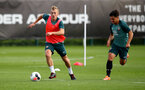 SOUTHAMPTON, ENGLAND - OCTOBER 09: James Ward-Prowse(L) and Sean Brennan during a Southampton FC training session at the Staplewood Campus on October 09, 2019 in Southampton, England. (Photo by Matt Watson/Southampton FC via Getty Images)