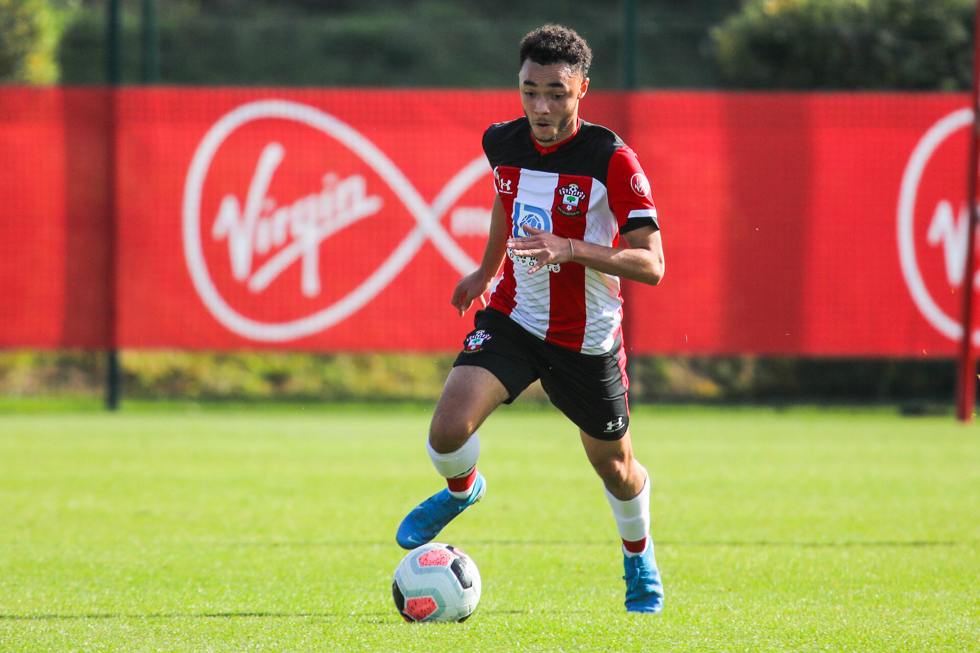 SOUTHAMPTON, ENGLAND - OCTOBER 19: Jayden Smith of Southampton FC during the Barclays Under 18 Premier League match between Southampton FC and Leicester City at the Staplewood Campus on October 19, 2019 in Southampton, England