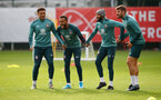 SOUTHAMPTON, ENGLAND - OCTOBER 23: L to R Ché Adams, Ryan Bertrand, Nathan Redmond and Jack Stephens during a Southampton FC training session at the Staplewood Campus on October 23, 2019 in Southampton, England. (Photo by Matt Watson/Southampton FC via Getty Images)