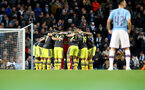 MANCHESTER, ENGLAND - OCTOBER 29: Saints players huddle during the Carabao Cup Round of 16 match between Manchester City and Southampton FC at the Etihad Stadium on October 29, 2019 in Manchester, England. (Photo by Matt Watson/Southampton FC via Getty Images)