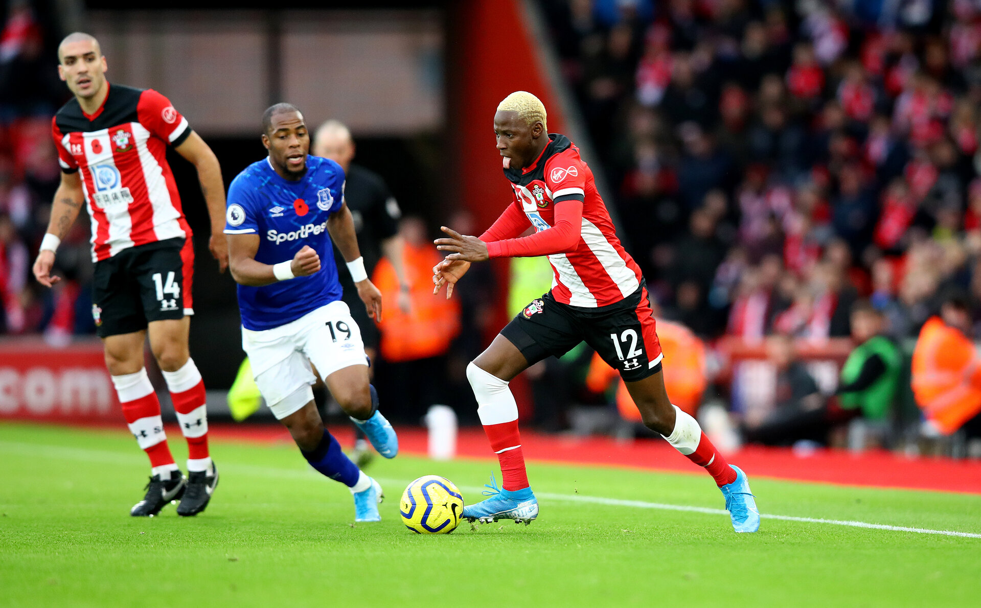 SOUTHAMPTON, ENGLAND - NOVEMBER 09: Moussa Djenepo of Southampton during the Premier League match between Southampton FC and Everton FC at St Mary's Stadium on November 09, 2019 in Southampton, United Kingdom. (Photo by Matt Watson/Southampton FC via Getty Images)