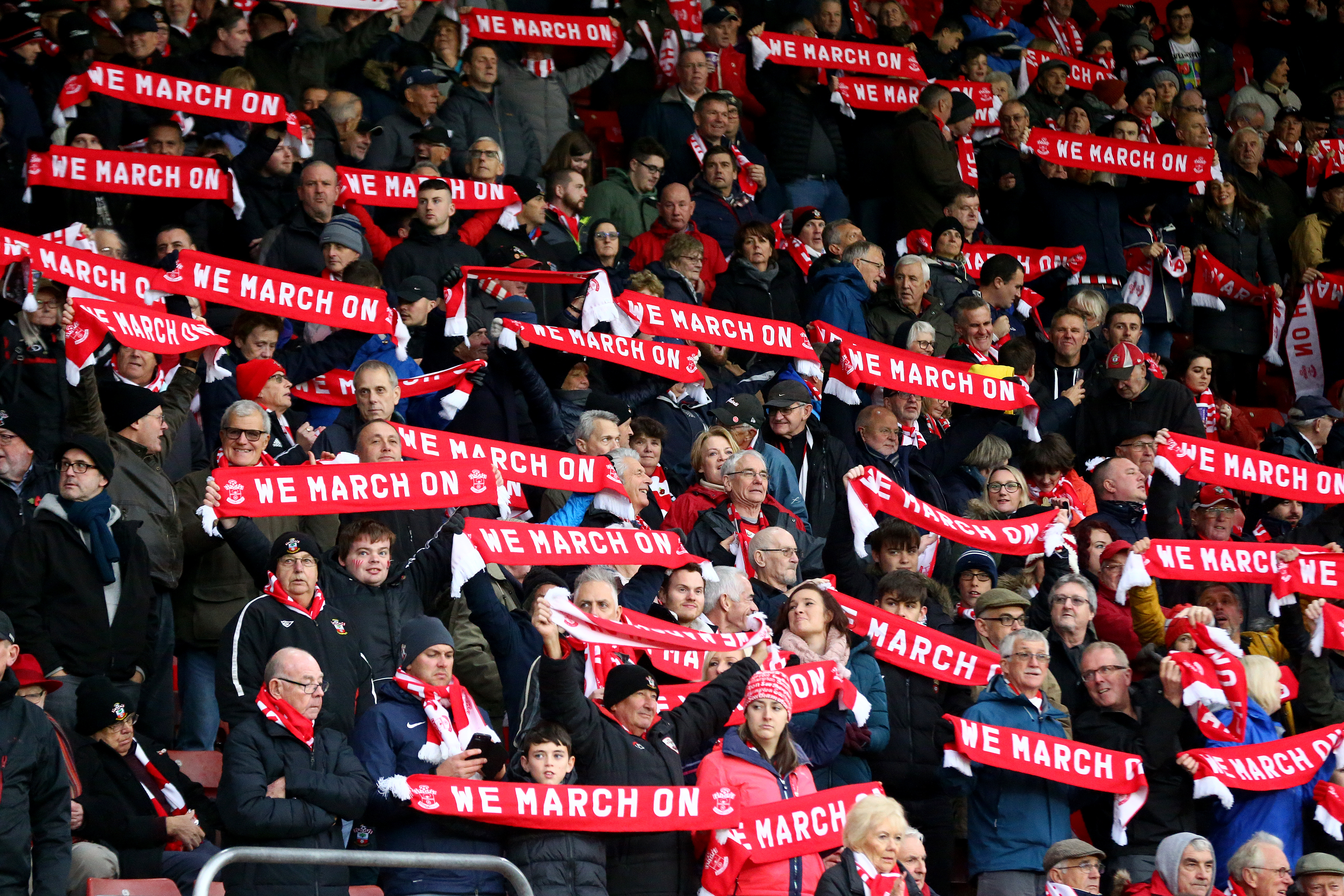 SOUTHAMPTON, ENGLAND - NOVEMBER 09: Saints fans hold up their scarves during the Premier League match between Southampton FC and Everton FC at St Mary's Stadium on November 09, 2019 in Southampton, United Kingdom. (Photo by Matt Watson/Southampton FC via Getty Images)