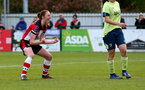 SOUTHAMPTON, ENGLAND - NOVEMBER 17: Rachel Panting celebrates during Womens Hampshire Cup round 2 match between Southampton FC Women and AFC Bournemouth Women, at the Snows stadium AFC Totton, on November 17, 2019 in Southampton, England. (Photo by Matt Watson/Southampton FC via Getty Images)