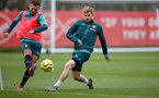 SOUTHAMPTON, ENGLAND - NOVEMBER 20: Harry Hamblin(L) and Stuart Armstrong during a Southampton FC training session at the Staplewood Campus on November 20, 2019 in Southampton, England. (Photo by Matt Watson/Southampton FC via Getty Images)