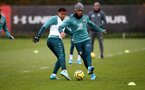 SOUTHAMPTON, ENGLAND - NOVEMBER 20: Ché Adams(L) and Ryan Bertrand during a Southampton FC training session at the Staplewood Campus on November 20, 2019 in Southampton, England. (Photo by Matt Watson/Southampton FC via Getty Images)