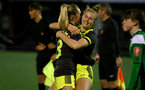 YEOVIL, ENGLAND - DECEMBER 01: Phoebe Williams and Cattlin Morris penalties celebration during the FA Cup, second round, at The Avenue between Yeovil and Southampton Women on December 01 2019, Yeovil, England. (Photo by Isabelle Field/Southampton FC via Getty Images)