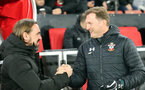 SOUTHAMPTON, ENGLAND - DECEMBER 4: Daniel Farke and Ralph Hasenhüttl during the Premier League match between Southampton FC and with Norwich City FC at St Mary's Stadium on December 4, 2019 in Southampton, United Kingdom. (Photo by Chris Moorhouse/Southampton FC via Getty Images)