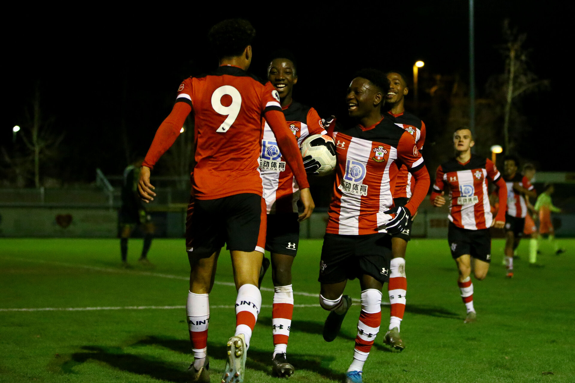 SOUTHAMPTON, ENGLAND - DECEMBER 06: Christian Norton goal celebration during the Premier League 2 match between Southampton FC U23 and Man City U23 at Snows Stadium, AFC Totton on December 06, 2019 in Southampton, United Kingdom. (Photo by Isabelle Field/Southampton FC via Getty Images)