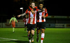 SOUTHAMPTON, ENGLAND - DECEMBER 06: Callum Slattery and Christian Norton goal celebration during the Premier League 2 match between Southampton FC U23 and Man City U23 at Snows Stadium, AFC Totton on December 06, 2019 in Southampton, United Kingdom. (Photo by Isabelle Field/Southampton FC via Getty Images)