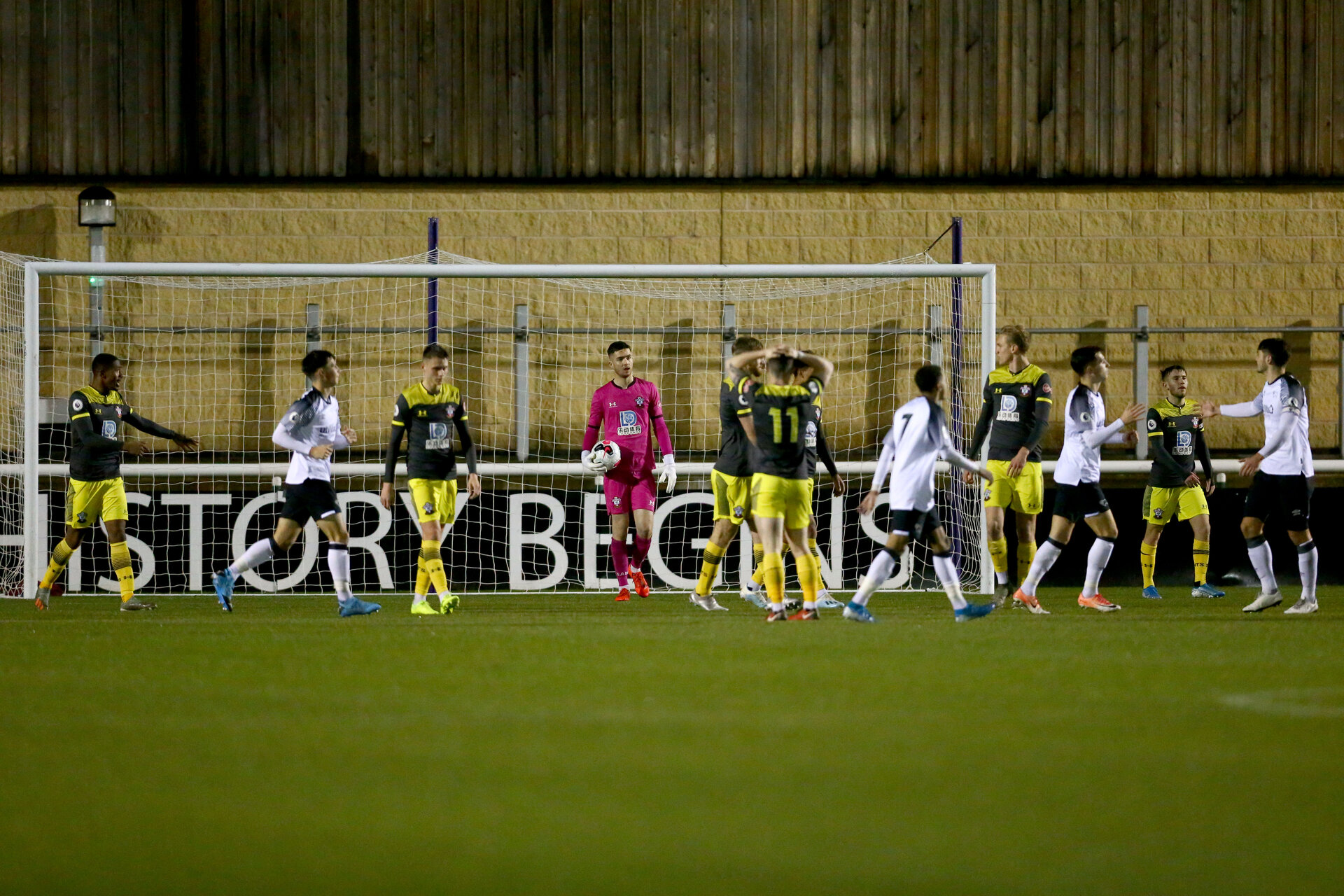 LOUGHBOUROUGH, ENGLAND - DECEMBER 10: Derby goa during Premier League International Cup match between Derby County and Southampton at Loughborough University Stadium on December 10 2019 in Loughborough, England (Photo by Isabelle Field/Southampton FC via Getty Images)